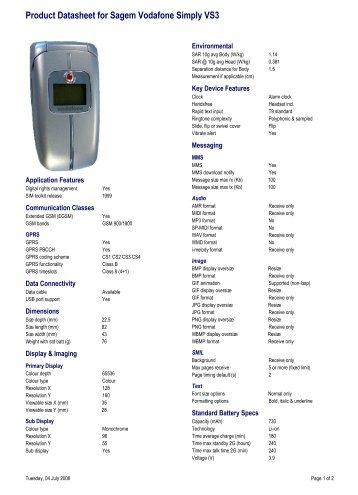 Product Datasheet for Sagem Vodafone Simply VS3