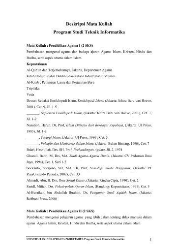 Deskripsi Mata Kuliah - UNINDRA