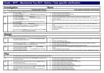 task specific rubrics Grade 8 - Mechanical Toys - New 2013