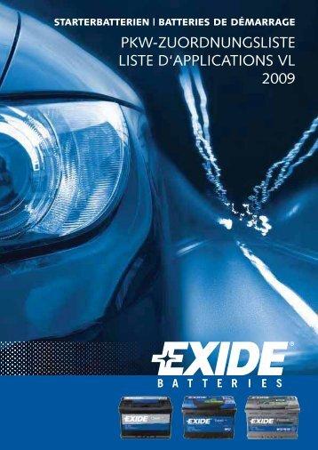 PKW-ZUORDNUNGSLISTE LISTE D'APPLICATIONS VL 2009