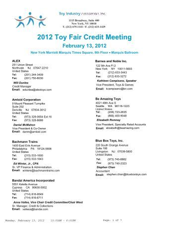 2012 Toy Fair Credit Meeting - Toy Industry Association