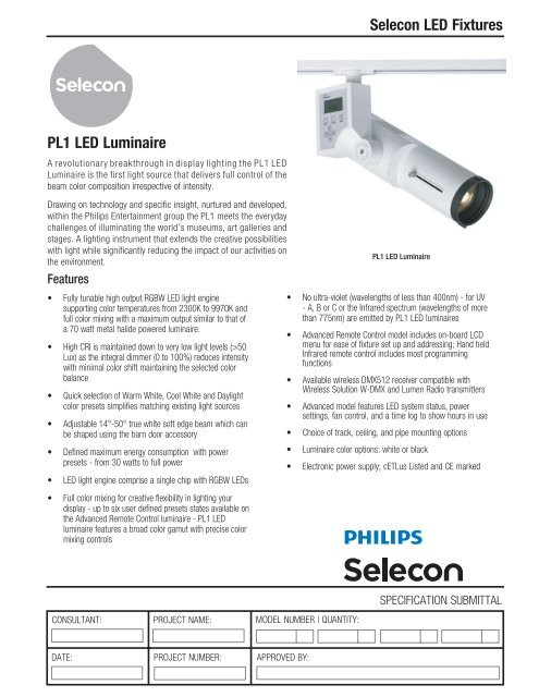 Selecon LED Fixtures PL1 LED Luminaire - Strand Lighting