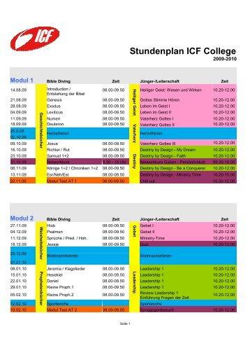 Stundenplan ICF College - ICF Bern