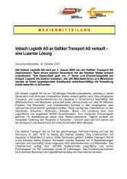 Imbach Logistik AG an Galliker Transport AG verkauft – eine ...