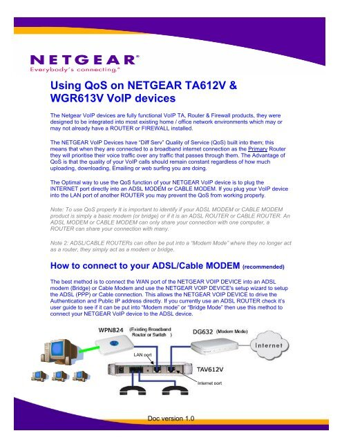 Using QoS on Netgear VoIP products - Engin