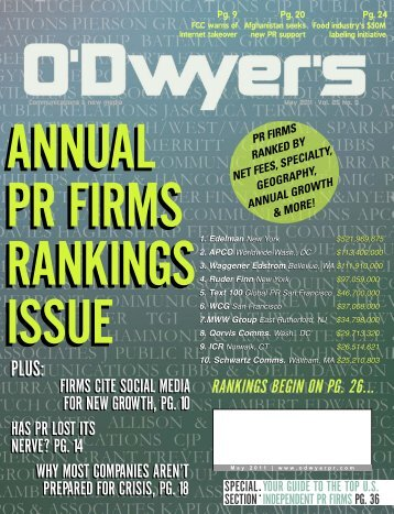 May '11 PR Rankings Issue - Odwyerpr.com