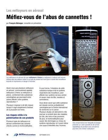 Les nettoyeurs à freins en aérosol - Auto Prévention