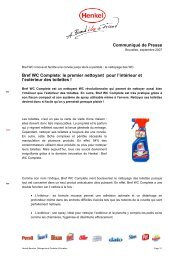 Communiqué de Presse Bref WC Complete: le premier nettoyant ...