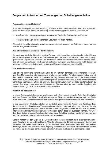 Fragen Und Antworten Zu Mediation Dr Forkel Mediation Und