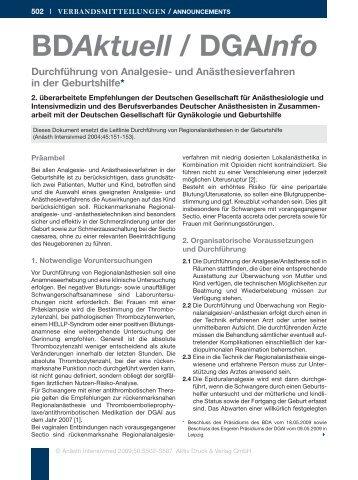 und Anästhesieverfahren in der Geburtshilfe - Berufsverband ...