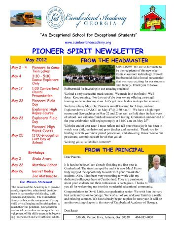 May 2012 Newsletter - Cumberland Academy of Georgia