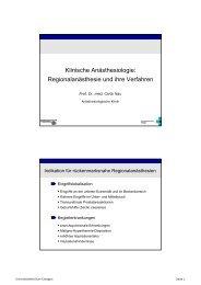 Regionalanästhesie und ihre Verfahren - Anästhesiologische Klinik ...