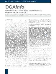 Empfehlung zur Durchführung von Anästhesien bei ... - DGAI