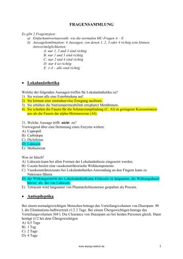 FRAGENSAMMLUNG • Lokalanästhetika • Antiepileptika