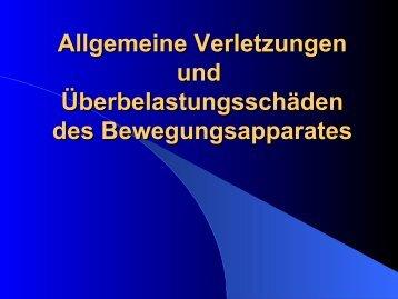 Allgemeine Verletzungen und Uberbelatungsschäden