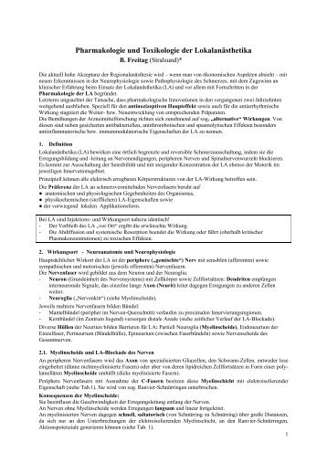 Pharmakologie und Toxikologie der Lokalanästhetika