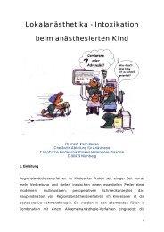 Lokalanästhetika - Intoxikation beim anästhesierten Kind