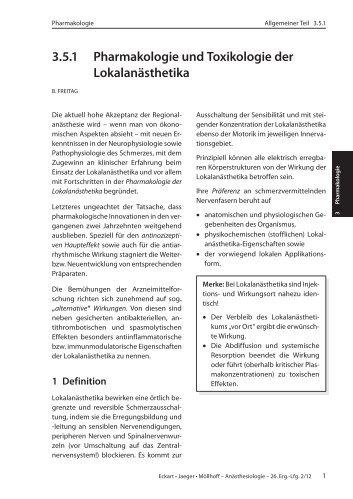 3.5.1 Pharmakologie und Toxikologie der Lokalanästhetika