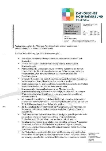 Weiterbildungsplan Schmerztherapie - Marienkrankenhaus Soest