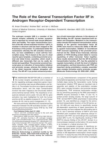 The Role of the General Transcription Factor IIF in Androgen ...