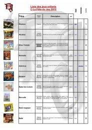 Liste des jeux pour les boutchous