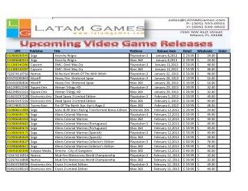 LATAM New Releases - Latam Games