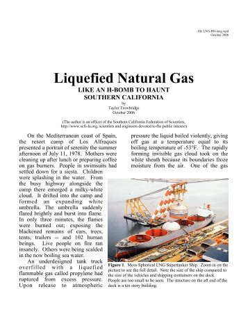 Liquefied Natural Gas - Southern California Federation of Scientists
