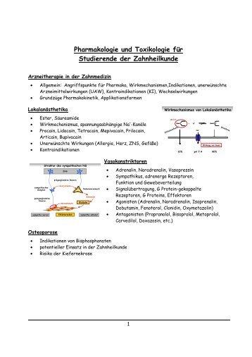 Pharmakologie und Toxikologie für Studierende der Zahnheilkunde
