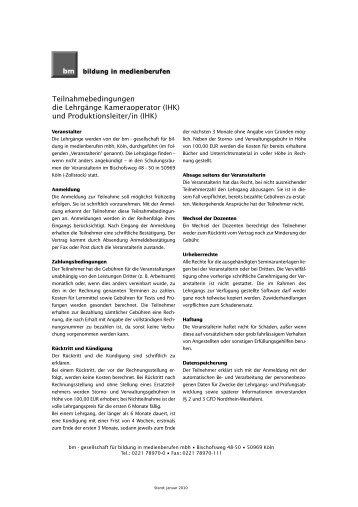 und Produktionsleiter/in (IHK) - Bildung in Medienberufen