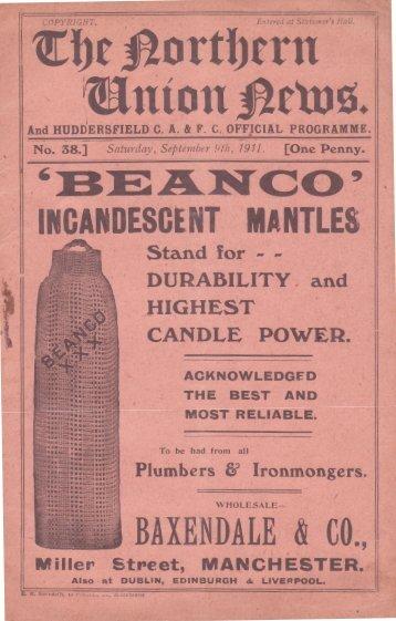 1911 v Leeds programme - Huddersfield Rugby League Heritage