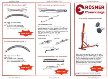 Karosserie-Werkstattausrüstung hier klicken - Rösner KFZ Werkzeuge