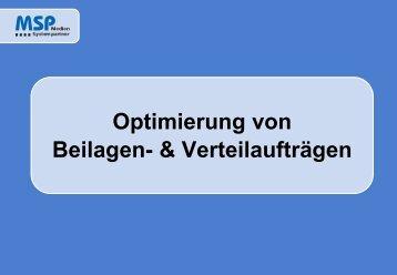 MSP-Dispodialog Beilagen/Prospekte