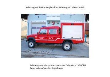 Beladung des BLFA – Berglandlöschfahrzeug mit Allradantrieb ...