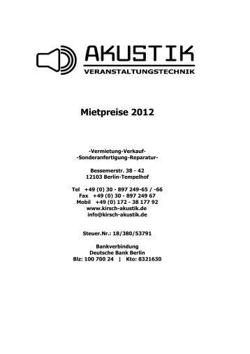 Mietpreisliste 2013 - A.K.u.s.t.i.k Veranstaltungstechnik