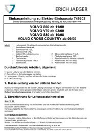 Einbauanleitung zu Elektro-Einbausatz 749202 VOLVO ... - Kfzpoint