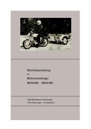 Betriebsanleitung Mokickanhänger MHW/M2 MHW/M3