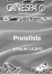 Schuhpreisliste - Canespa - Systeme gegen Elektrostatik