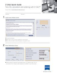 Z CALC Quick Guide - Carl Zeiss Meditec AG
