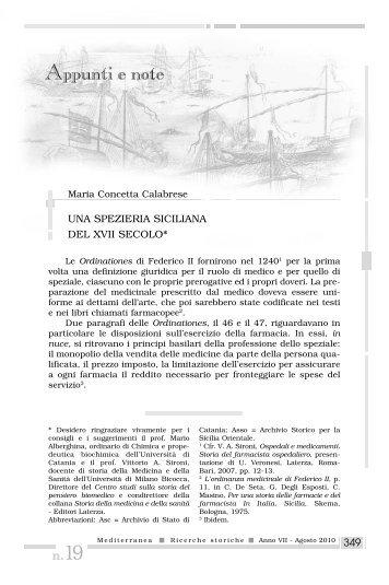 Una spezieria siciliana del XVII secolo - Mediterranea ricerche ...