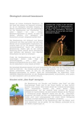Ökologisch sinnvoll bewässern