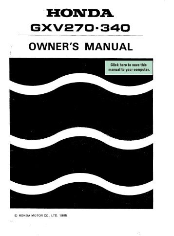GXV270.340 OWNER'S MANUAL - Honda Engines