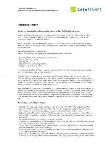 Richtiges Heizen - Casaservice-berlin.de