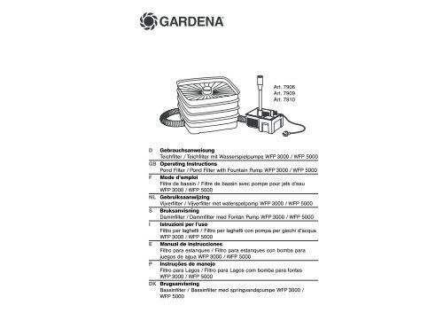 OM, Gardena, Pond Filter / Pond Filter with Fountain Pump WFP ...