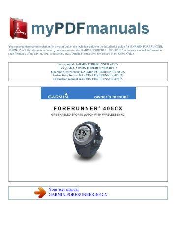 menu u003e rh yumpu com My Garmin Nuvi forerunner 405cx user manual