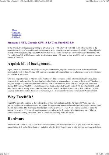 SysAdm Blog » Stratum 1 NTP, Garmin GPS 18 LVC on FreeBSD 8.0