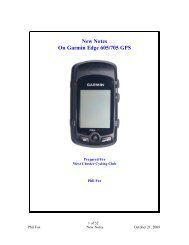 New Notes On Garmin Edge 605/705 GPS - West Chester Cycling ...