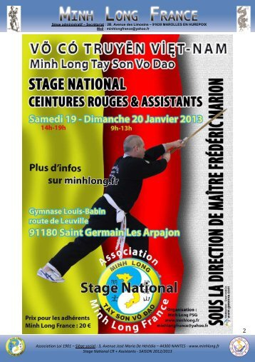 Stage CR + Assistants - ST GERMAIN - 19 et 20 ... - Minh Long France