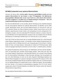 Pressemitteilung - KEYMILE präsentiert neue optische Ethernet-Karte