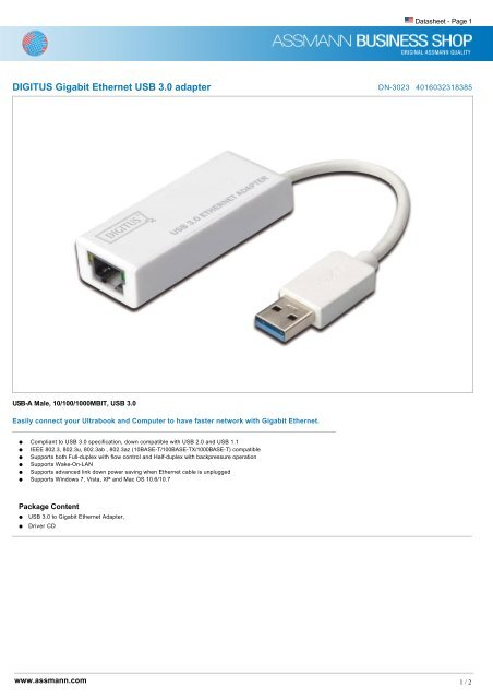 DIGITUS USB ETHERNET DRIVERS FOR WINDOWS VISTA