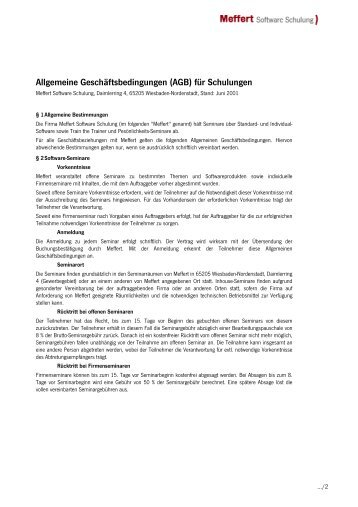 AGB Meffert Sofware Schulung - Meffert Software